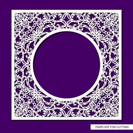 Square frame with a round hole. Openwork lace pattern, oriental floral ornament of leaves, curls. Template for plotter laser cutting (cnc) of paper, cardboard, plywood, wood carving, metal engraving.
