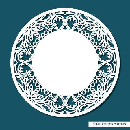 Round frame with place for text in the center. Openwork lace pattern, oriental floral ornament of leaves, curls. Template for plotter laser cutting of paper, cardboard, plywood, wood carving, metal. 矢量图像