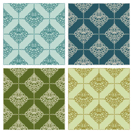Collection of luxury backgrounds with green and blue colors with gold patterns. Seamless texture with classic floral pattern. Template for wallpaper, textile, web, wrapping paper. Vector illustration. 矢量图像