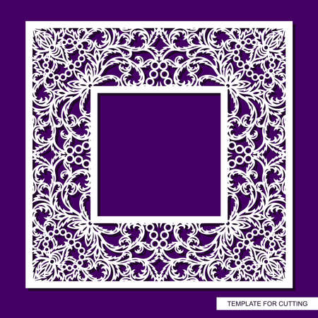 Beautiful square photo frame. Lacy floral pattern of leaves. Oriental ornament. Vector illustration