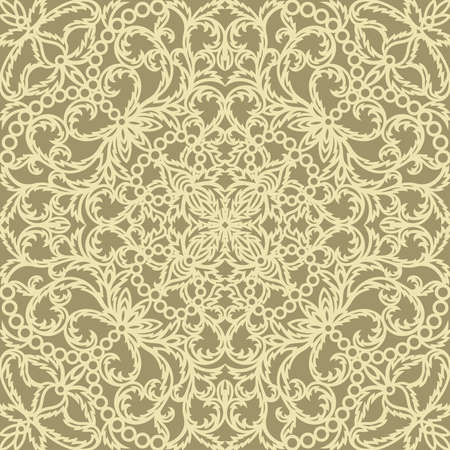 Lace seamless pattern with classic floral ornament. Light yellow curls of flowers and leaves on a gold background. Repeating square texture for textiles, fabrics, wallpapers, wrapping paper, web.