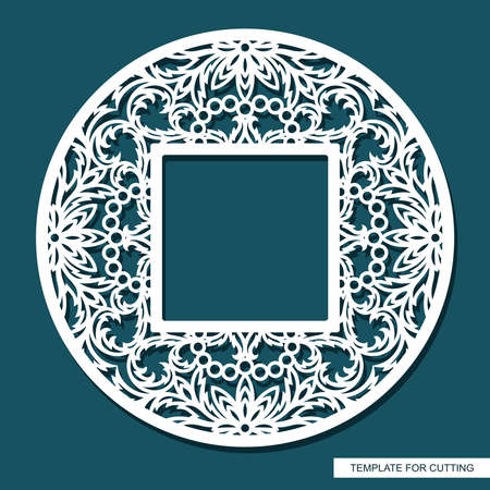 Round frame with a square hole. Openwork lace pattern, oriental floral ornament of leaves, curls. Template for plotter laser cutting (cnc) of paper, cardboard, plywood, wood carving, metal engraving. 矢量图像