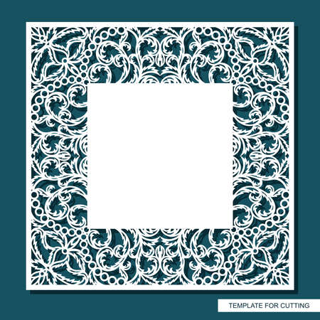 Square frame with place for text. Card, wedding invitation blank, certificate. Openwork lace pattern, floral ornament. Template for plotter laser cutting of paper, cardboard, plywood, wood carving.