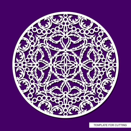 Round panel with delicate lace pattern. Floral oriental ornament of leaves, curls. Template for plotter laser cutting of paper, cardboard, plywood, wood carving, metal engraving, cnc. Vector image.