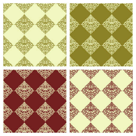 Set of seamless backgrounds with golden and maroon classic patterns. Square endless texture with elegant floral ornament rhombus-shaped. Template for wallpaper, textile, web, wrapping paper. Vector.