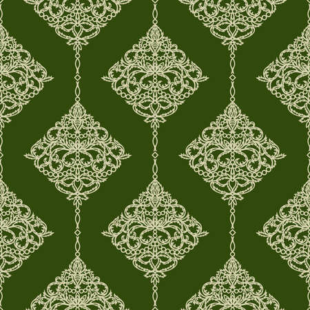 Luxurious elegant seamless pattern. Gold floral ornament on a dark green background. Classic elements of openwork leaves, flowers. 矢量图像