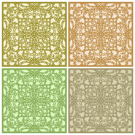 Set of square panels in gold, beige, brown, green colors. Floor or wall tile design. Classic openwork floral ornament made of thin leaves and flowers.
