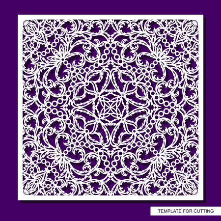 Square panel with delicate lace pattern. Floral oriental ornament of leaves, curls. Template for plotter laser cutting of paper, cardboard, plywood, wood carving, metal engraving, cnc. Vector image.