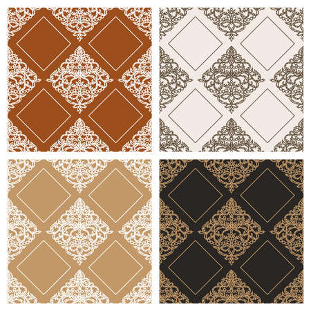 Set of seamless patterns with classic ornament. Elegant royal style. Brown, beige, terracotta, gold colors. Endless repeating texture for wallpaper, textiles, wrapping paper, fabric, web. Vector image