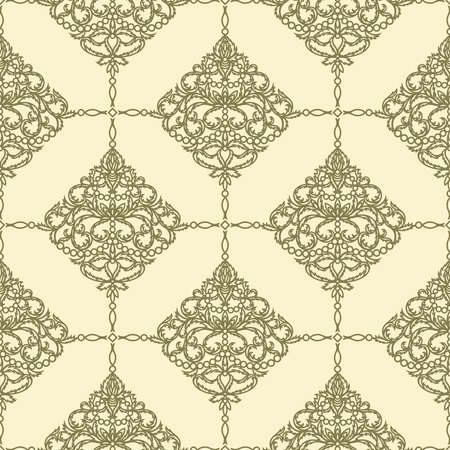 Light yellow seamless with golden classic pattern.