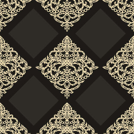 Luxurious elegant seamless pattern. Gold floral ornament on a dark black background. Classic elements of openwork leaves, flowers. Square endless texture for fabric, wrapping paper, textile, tile.