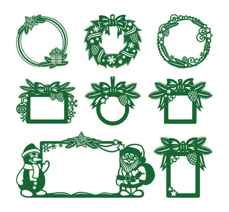 Big set of Christmas frames of different shapes (round, square, rectangular, hanging). Decoration of fir branches, cones, garlands, bows, balls, stars, with a snowman, Santa Claus. Vector illustration