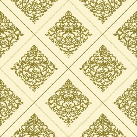 Seamless pattern with gold ornaments on a beige background. Classic element of openwork leaves, flowers and lines. Square texture with endless pattern.