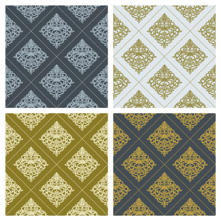 Set of seamless patterns with classic ornament. Elegant royal style. Dark and light blue, gold color. Endless repeating texture for wallpaper, textile, wrapping paper, fabric, web. Vector illustration