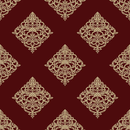 Maroon seamless background with golden classic pattern. Square endless texture with elegant floral ornament rhombus-shaped. Template for wallpaper, textile, web, wrapping paper. Vector illustration. 矢量图像