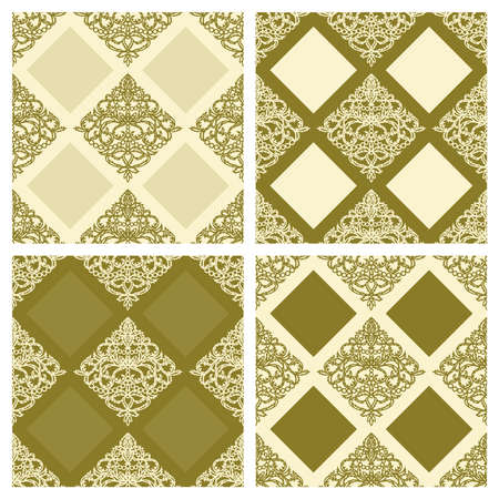 Collection of luxury seamless patterns in gold and beige colors. Classic floral ornament made of lace leaves in the form of rhombuses. Template for wallpaper, textile, web, wrapping paper. Vector.