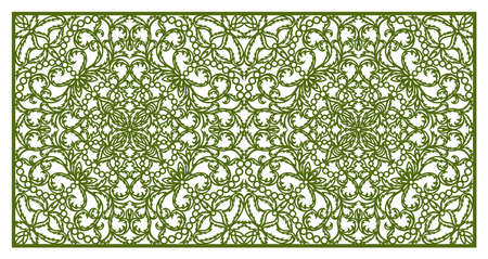 Rectangular panel with delicate lace pattern. Floral oriental ornament of leaves, curls. Ratio is 1: 2.