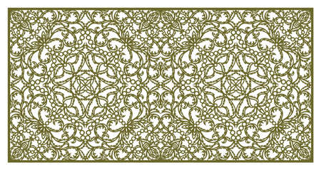 Rectangular panel with delicate lace pattern. Floral oriental ornament of leaves, curls. Template for plotter laser cutting of paper, cardboard, plywood, wood carving, metal engraving.
