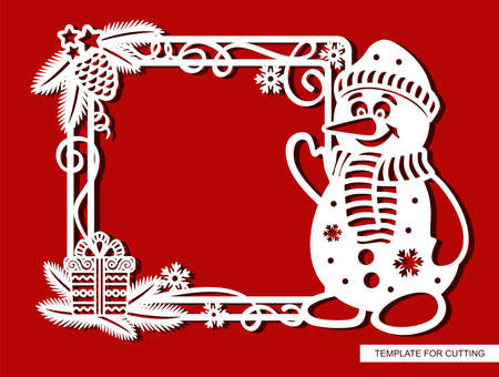 Funny Christmas frame with cartoon snowman. Square border with fir branches, pine cone, serpentine, gift, snowflakes. New Year theme.