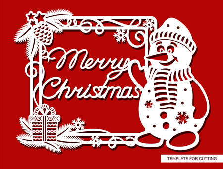 Decorative frame with a funny snowman and the text Merry Christmas. The square border is decorated with Christmas tree branches, gift box, serpentine curls, pine cone, snowflakes. Layout for laser cut 矢量图像