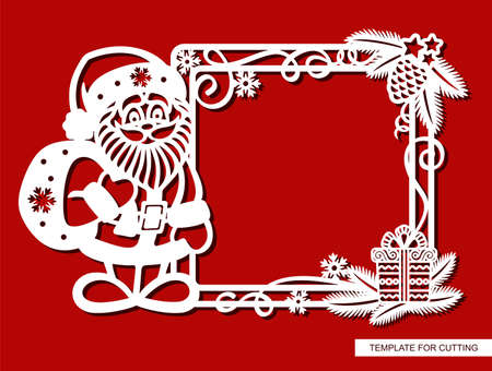 Funny Christmas frame with cartoon Santa Claus. Square border with fir branches, pine cone, serpentine, gift, snowflakes. New Year theme. 矢量图像