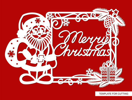 Fun frame with Santa Claus and the inscription Merry Christmas. Square border with fir branches, pine cone, serpentine, gift, snowflakes. New Year theme. Vector template for laser cutting paper (cnc).