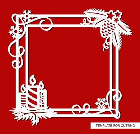 Beautiful Christmas frame with candles. Square border with fir branches, pine cone, serpentine, stars, snowflakes. New Year theme. Vector template for laser cutting paper, wood carving, metal, cnc. Illustration