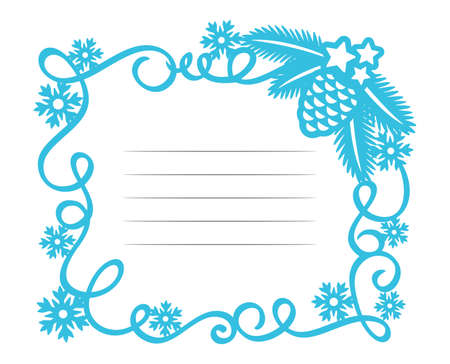 Blue Christmas frame with lines for text. Rectangular border made of serpentine, snowflakes, spruce branch, cones, stars. Vector.