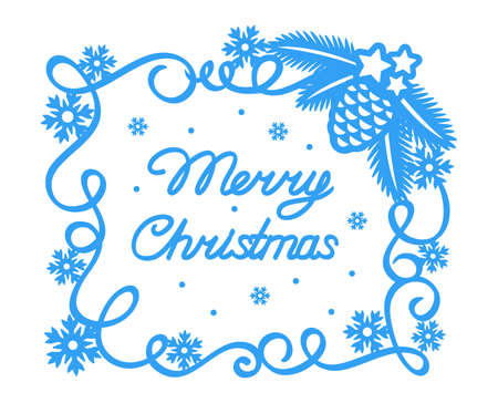 Christmas card. Blue square frame and text Merry Christmas on white background. Simple flat style. Curl border, snowflakes, decoration of Christmas tree branches with a pine cone.