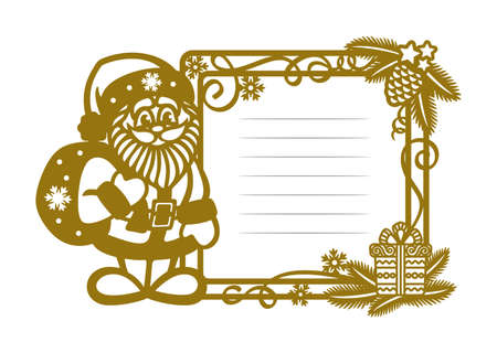 Golden Christmas frame with Santa Claus and place for text with lines. Square border is decorated with fir branches, a gift box, serpentine on a white background.