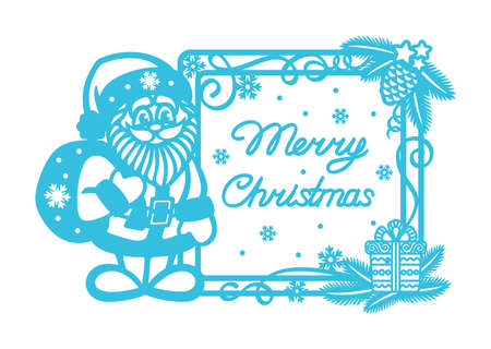 Plain blue card with cute Santa Claus and text Merry Christmas. Square frame with Christmas tree branches, pine cone, gift box, serpentine. Simple flat design. New Year's theme. Vector illustration.