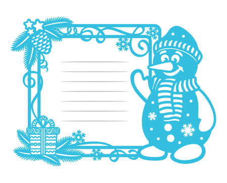 Christmas card template with cute snowman and place for text with lines. Square border is decorated with fir branches, a gift box, serpentine on a white background.