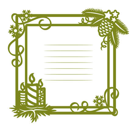 Blank for a Christmas card. Square green frame decorated with Christmas tree branches, cones, three candles, serpentine, snowflakes, stars. Lines for text. New Year's theme. Vector illustration.