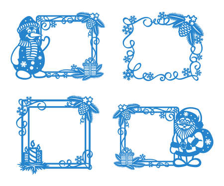 Set of blue Christmas frames on a white background. Square borders are decorated with Christmas tree branches, snowflakes, stars, candles, cute snowman, funny Santa Claus. New Year's theme. Vector.