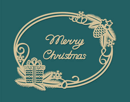 Elegant card with the text Merry Christmas. The golden oval frame is decorated with fir branches, a pine cone, serpentine curls, snowflakes, a gift box. Vector illustration on a dark green background.