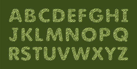 Alphabet letters with a pattern of leaves. Plants theme. Openwork botanical logo, sign, icon for natural, eco products. Summer or spring font. Yellow objects on a green background. Vector illustration