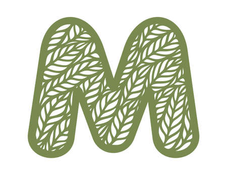 Letter M with a pattern of leaves. Green object on a white background. Plants theme. Openwork botanical logo, sign, icon for natural, eco products. Summer or spring alphabet, font. Vector illustration