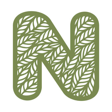 Letter N with a pattern of leaves. Green object on a white background. Plants theme. Openwork botanical logo, sign, icon for natural, eco products. Summer or spring alphabet, font. Vector illustration
