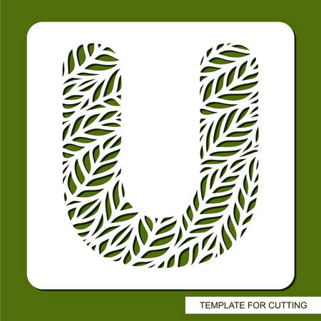 Stencil with the letter U made from leaves. Eco sign, icon for organic, natural products. Plants theme.  Vector illustration. 矢量图像
