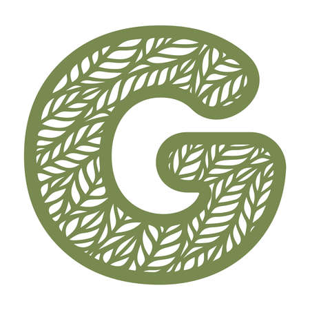Letter G with a pattern of leaves. Green object on a white background. Plants theme. Openwork botanical logo, sign, icon for natural, eco products. Summer or spring alphabet, font. Vector illustration