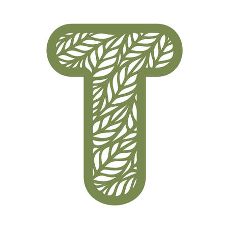 Letter T with a pattern of leaves. Green object on a white background. Plants theme. Openwork botanical logo, sign, icon for natural, eco products. Summer or spring alphabet, font. Vector illustration