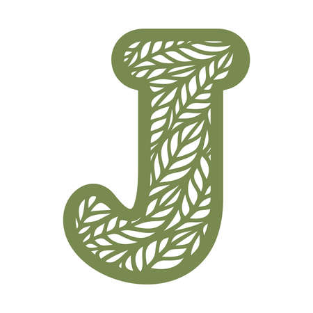 Letter J with a pattern of leaves. Green object on a white background. Plants theme. Openwork botanical logo, sign, icon for natural, eco products. Summer or spring alphabet, font. Vector illustration