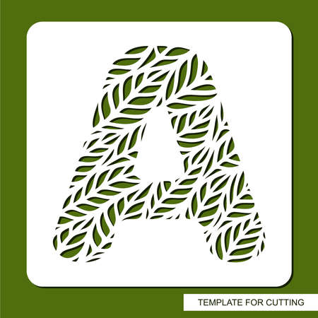 Stencil with the letter A made from leaves. Eco sign, icon organic, natural products. Plant theme. 矢量图像