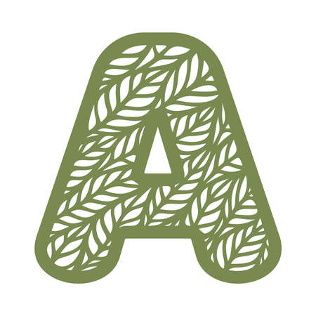Letter A with a pattern of leaves. Green object on a white background. Plants theme. Openwork botanical logo, sign, icon for natural, eco products. Summer or spring alphabet, font. Vector illustration 矢量图像
