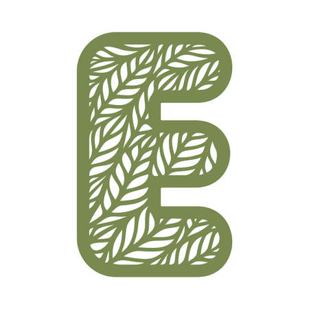 Letter E with a pattern of leaves. Green object on a white background. Plants theme. Openwork botanical logo, sign, icon for natural, eco products. Summer or spring alphabet, font. Vector illustration