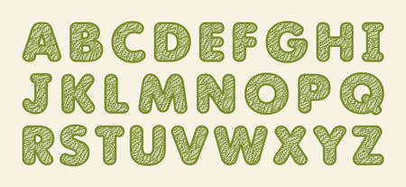 Alphabet letters with a pattern of leaves. Plants theme. Openwork botanical logo, sign, icon for natural, eco products. Summer or spring font. Green objects on a beige background. Vector illustration. 矢量图像