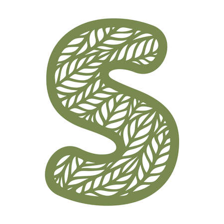 Letter S with a pattern of leaves. Green object on a white background. Plants theme. Openwork botanical logo, sign, icon for natural, eco products. Summer or spring alphabet, font. Vector illustration