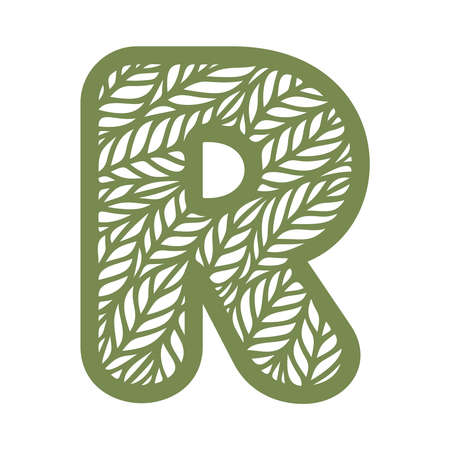 Letter R with a pattern of leaves. Green object on a white background. Plants theme. Openwork botanical logo, sign, icon for natural, eco products. Summer or spring alphabet, font. Vector illustration