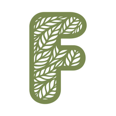 Letter F with a pattern of leaves. Green object on a white background. Plants theme. Openwork botanical logo, sign, icon for natural, eco products. Summer or spring alphabet, font. Vector illustration 矢量图像