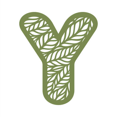 Letter Y with a pattern of leaves. Green object on a white background. Plants theme. Openwork botanical logo, sign, icon for natural, eco products. Summer or spring alphabet, font. Vector illustration 矢量图像